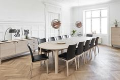 The Annika table, made in Denmark, expands to seat 2 - 10 people (or more depending on the number of extension leaves). Incredible functionality and efficiency with clean modern design. Dining Room Table, Dining Bench, Dining Chairs, Table Extensible, Extension Dining Table, Table Seating, Chairs For Sale, Bedroom Sets, Modern Furniture