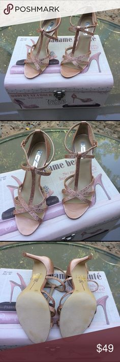 """👠 INC Pretty, Rose Rhinestone Sandals Wmn. Size 9 Feel like a Princess or Hollywood Star wearing these INC - International Concept, Rhinestone Sandals! Blush/Rose Color. Fabric Upper. Manmade Sole. 3-3/4"""" covered heel. Memory foam sock for extra comfort. Strappy detail at upper; Rhinestone Embellishments throughout (& all are intact). Worn once! Perfect for Prom, Wedding, An Evening Out, Parties, etc. My back can't handle heels anymore. Macy's sells these right now for $99.50 + tax. Thank…"""