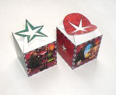Christmas motif gift box, red green, cube, DIY printable, give-away, favor box, packaging, 2.pdf, digital files, templates. $2.80, via Etsy.