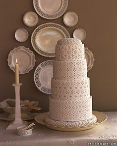 Lacy Fondant wedding# cake#