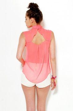 Hot Pink Open Back Chiffon Blouse