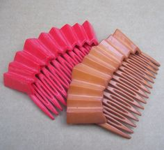 Vintage hair combs 2 red brown celluloid comb by ElrondsEmporium