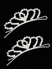 Arabella Ave by Tina  http://www.arabellaave.com/?a_aid=TinaGowans  NEW!!  TIARA LIKE HAIR PIN HAIR ACCESSORY CROWN HEART $8.95 3/4 INCH TALL CRYSTAL STONE   ONE PAIR METAL  SETTING 2 1/4 INCH WIDE x 3/4 INCH TALL  NICKEL AND LEAD COMPLIANT