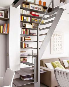 Compact design serves as bookshelves, side table and staircase.