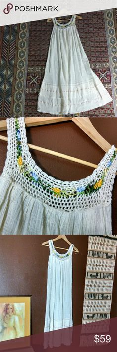 "Vintage Hippie Boho Gauzy Beachy Sheer Dress Beautiful semi sheer cream boho summer dress Pretty crochet bib detail w bits of color. So comfortable and flowy. No tags. Could fit many sizes as it's a very open fit from below the crochet  Armpit approx 20"" across 