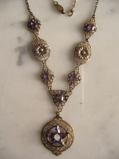 vintage jewelry  | ANTIQUE VINTAGE JEWELRY AMETHYST WITCH PENDANT NECKLACE 'S 1920s ...