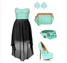 Turquoise and black high low dress