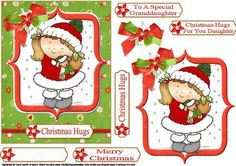 Christmas hugs on Craftsuprint designed by Carol Smith - a quick make topper sheet for Christmas which has a cute little lady giving her little puppy a Christmas hug framed and trimmed with co-ordination bow. co-ordinating tags say Christmas hugs, merry Christmas, Christmas hugs for you daughter, to a special granddaughter and a blank tag for the greeting of your choice.thank you for looking please take a peek at my other items - Now available for download!