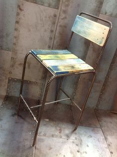 Reform Furniture Line is part of Bar stools - Study of rebar and palette wood chairs Reform furniture line which was made over a two year period Welded Furniture, Steel Furniture, Pallet Furniture, Furniture Design, Metal Projects, Welding Projects, Welding Crafts, Wood Steel, Wood And Metal