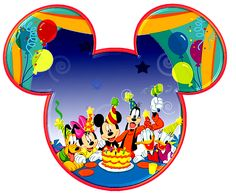 Mickey and Minnie Heads with Party Hats. Right click and save as