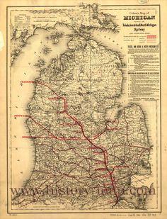 Toledo, Ann Arbor, & North Michigan Railroad 1880's | http://www.history-map.com/picture/003/Michigan-Railroad-Toledo-Arbor.htm