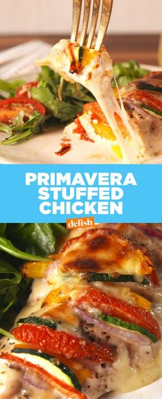 Primavera Stuffed Chicken - Delish.com Great recipe. I added extra garlic. I did not like warming this up for leftovers as much. I believe it is best served immediately out of the oven. - Meagan