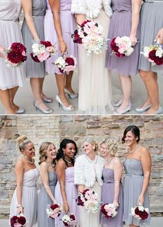 shades of purple bridesmaids -works best with lighter colors