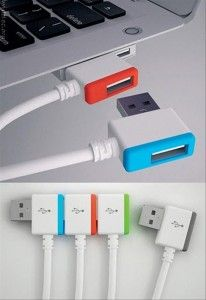 Stacking USB charging cords.  Smart idea.