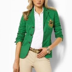 "An elegant, smartly tailored blazer with chic prep school style. Notched collar, three-button silhouette with golden crest-embossed buttons. Single back vent. Flap patch pockets at the hips, patch pocket with ""Lauren Ralph Lauren"" golden bullion crown crest at the left chest. Fully lined. Machine washable. The shirt inside the blazer is not included."