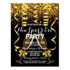 Elegant Gold Black New Year`s Eve Party Invitation Postcard New Years Eve Invitations, Gold Invitations, Elegant Invitations, Happy New Year Gif, Happy New Year Quotes, Glam And Glitter, Glitter Party, New Eve, New Year Holidays