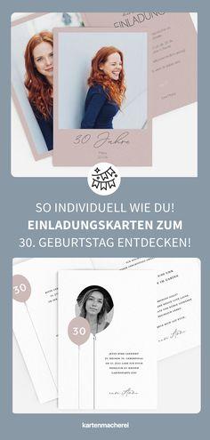 So schön sind individuelle & moderne Einladungskarten für deinen 30. Geburtstag! Lade dein Lieblingsfoto hoch, ergänze persönliche Worte und wähle dein Design - schon ist deine individuelle Einladungskarte zum 30. Geburtstag fertig! Überrasche deine Gäste schon am Briefkasten mit der kreativen Einladung zu deiner Geburtstagsparty! #kartenmacherei #geburtstag Movie Posters, Design, Mailbox, Garden Parties, Deco, Film Poster, Billboard, Film Posters