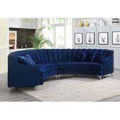Shop for Modern Curved Velvet Sectional Sofa - Get free delivery On EVERYTHING* Overstock - Your Online Furniture Shop! Blue Sectional, Large Sectional, Living Room Sectional, Corner Sectional, Living Room Furniture, Sectional Sofas, Couches, Charcoal Sectional, Wood Furniture