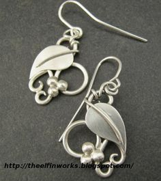 Sterling Silver Earrings with Leaves and Tendrils handcrafted