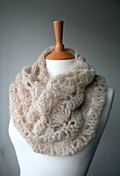 Ravelry: Crochet delicate air lace cowl pattern 161 pattern by Luz Mendoza. Intermediate level.