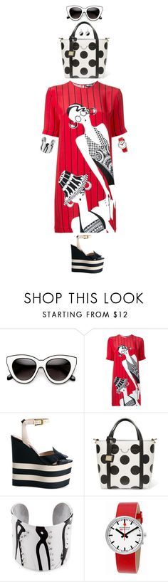 """""""red black and cat eye"""" by djalicat ❤ liked on Polyvore featuring Holly Fulton, Gucci, Dolce&Gabbana and Mondaine"""