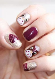 Dark Red, and Gold with Owls and Heart Nail Art Design