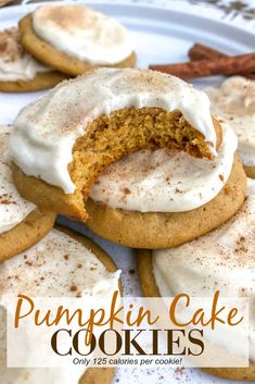 Pumpkin Cake Cookies with Cream Cheese Frosting Soft, fluffy and incredibly decadent pumpkin cookies that are iced with a sweet cream cheese frosting. Quick, easy and guaranteed to wow a crowd! Fall Dessert Recipes, Fall Desserts, Fall Recipes, Cinnamon Desserts, Holiday Recipes, Soft Pumpkin Cookies, Pumpkin Dessert, Pumpkin Cake Cookies Recipe, Pumkin Cake