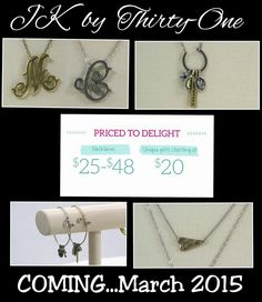New unique hand crafted jewelry is coming to thirty-one in March! Jewel Kade by Thirty-One!
