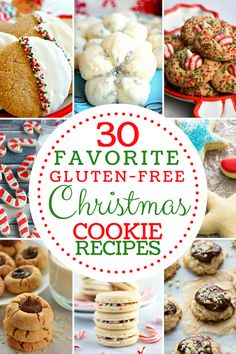 Favorite Gluten-Fee Christmas Cookie Recipes. From gingerbread cookies to the holiday classics we've got everything you need for this holiday baking season! A collection of 30 gluten-free Christmas cookie recipes from top gluten-free and food allergy bloggers. #glutenfreeChristmascookies #glutenfreecookies