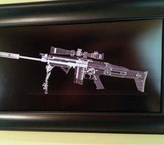 SCAR 16 CAT scan gun print - ready to frame Gun Safe Room, Man Shed, How To Make Rope, Vintage Farmhouse, Vintage Decor, Black Backgrounds, Man Cave, Guns, Black And White