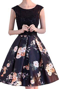 3362c1b58c Womens Floral Print Short Homecoming Dresses 2017 Lace Satin Party Dress  Black M Homecoming Dresses 2017