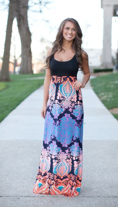 The Pink Lily Boutique - Bombshell Beauty Orange Tank Maxi, $42.00 (http://thepinklilyboutique.com/bombshell-beauty-orange-tank-maxi/)