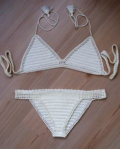 Crochet cream bikini, 2016 summer trends, women brazillian bikini swimwear  beach wear / FORMALHOUSE