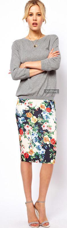 ASOS PETITE Exclusive Pencil Skirt In Floral Print