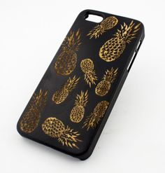 "Black Ink Bamboo Wood Cover for Apple iPhone 6 Plus (5.5"") - ""Pineapple Overload"" summer psych  fruit love hipster"