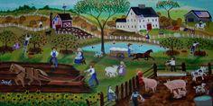 American Country Animal Farm of Yesteryear by Cheryl Bartley, American Folk Artist