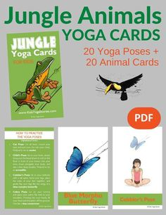 Learn about jungle animals through movement. Pretend to be a turtle, toucan, and tapir through basic yoga poses for kids: Jungle Animals Yoga Cards! | Kids Yoga Stories