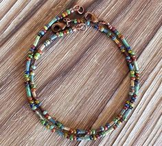 Beautifully earthy Czech Picasso seed and bugle beads have been used to create these wonderfully bohemian and colorful ankle bracelets. Wear them alone or stacked. Each anklet is randomly strung but will contain beads from the same batch and the same basic patterns. They are finished
