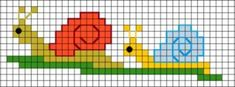 Cross Stitch Borders Free snail cross stitch pattern to make a bookmark or doodad for your snail mail pen pal. Cross Stitch Beginner, Tiny Cross Stitch, Cross Stitch For Kids, Cross Stitch Borders, Cross Stitch Animals, Cross Stitching, Cross Stitch Embroidery, Cross Stitch Patterns, Knitting Charts