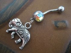 Elephant Belly Button Ring- Choose Your Color Charm Dangle Navel Piercing Jewelry Red Pink Opal. $12.50, via Etsy.