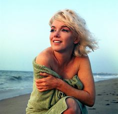 Marilyn Monroe photographed by George Barris on Santa Monica Beach in 1962