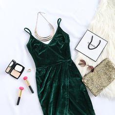 Dark Green Backless Ruched Velvet Wrap Cami Dress