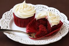 Two great Red Velvet Cupcakes with Cream Cheese Frosting recipes -- 100% homemade, or a box mix recipe kicked up a notch. Both irresistible!
