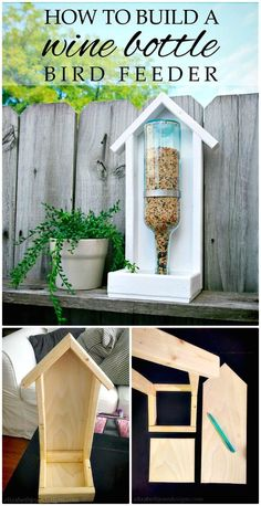 DIY Wine Bottle Bird Feeder - 110 DIY Backyard Ideas to Try Out This Spring & Summer - DIY & Crafts