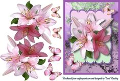 This beautiful 3D card can be used for any reason, as it has no labels just use your own. it comes with 3 different coloured backgrounds to suit your preference. pinks, blue and purple, It has awesome lilies and butterflies a