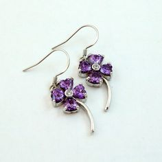 Vintage Clover Earrings Purple Crystal Sterling Silver by mybooms
