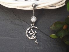 Fairy On Moon Charm Belly Ring - Crystal Belly Ring- Silver Charm Dangle Navel Piercing Bar Barbell- B006