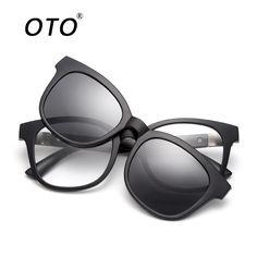 53e5f17fba OTO Brand Retro Clip On Sunglasses Men Polarized Night Vision Driving  Glasses TR90 Removable Glasses Frame