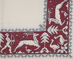 Untitled [Table Cloth with Assisi Border], Ngarita Johnstone, Embroidery and cross-stitch on linen, Date unknown. UC/MBL/2274