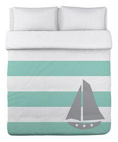 Look at this #zulilyfind! Aqua & Gray Striped Sailboat Duvet Cover by OneBellaCasa #zulilyfinds